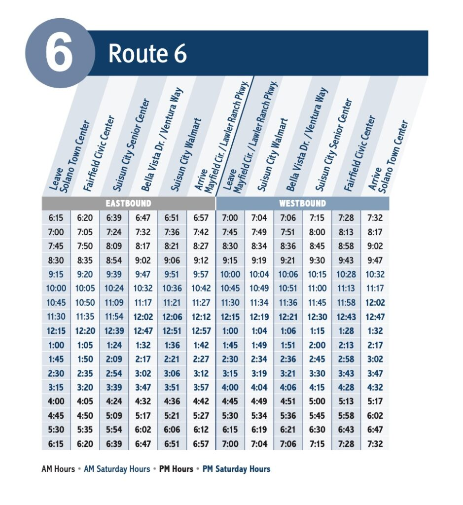 Route 6 schedule table